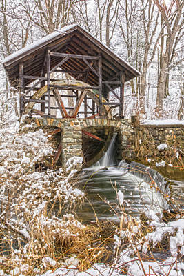 Grist Mill In Fresh Snow Poster