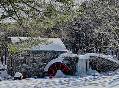 Grist Mill In Winter Poster by Bill Dussault