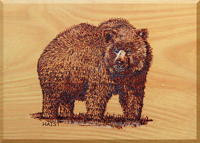Poster featuring the pyrography Grizzly 3 by Ron Haist