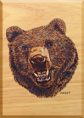 Poster featuring the pyrography Grizzly 5 by Ron Haist