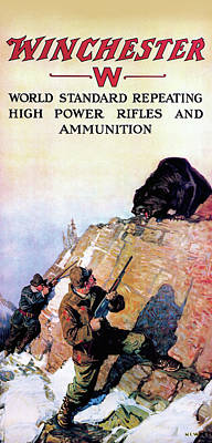 Poster featuring the painting Grizzly And Hunters by N C Wyeth