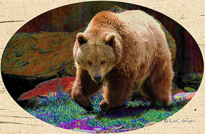 Poster featuring the digital art Grizzly Bear With Enhanced Background by Kae Cheatham