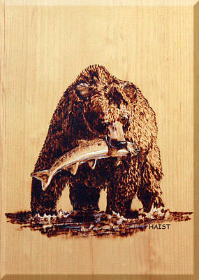 Poster featuring the pyrography Grizzly by Ron Haist