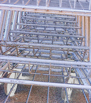 Poster featuring the digital art Grocery Carts 1 by Kae Cheatham