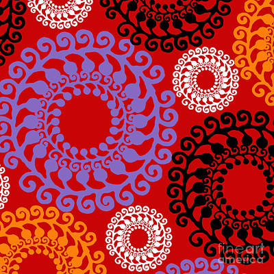 Groovy Circles Red Poster by Mindy Sommers
