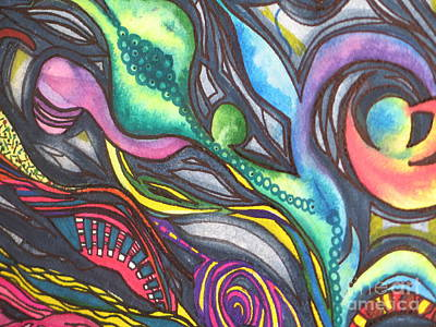 Poster featuring the painting Groovy Series Titled My Hippy Days  by Chrisann Ellis