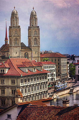 Grossmunster In Zurich Poster by Carol Japp