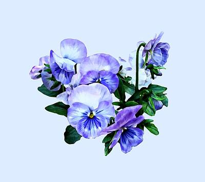 Group Of Purple Pansies And Leaves Poster by Susan Savad