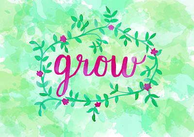 Grow Watercolor Poster