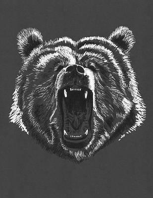 Growling Bear Poster by Masha Batkova