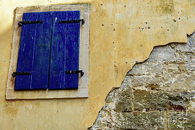 Groznjan Istrian Hill Town Stonework And Blue Shutters  - Istria, Croatia Poster