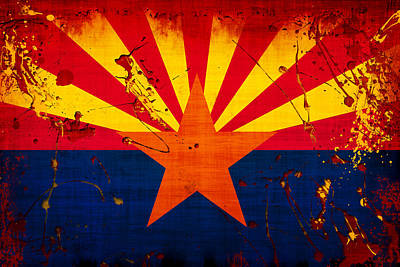 Grunge And Splatter Arizona Flag Poster by David G Paul