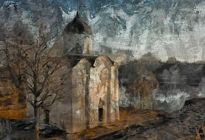 Grunge Church On River Poster by Yury Malkov