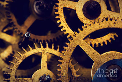 Grunge Gear Cog Wheels Background Poster