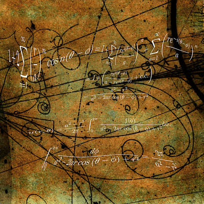 Poster featuring the photograph Grunge Math Equations by Robert G Kernodle