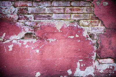 Grunge Red Wall With Broken Plaster Poster by Simon Bratt Photography LRPS