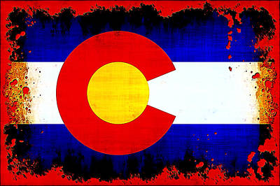 Grunge Style Colorado Flag Poster by David G Paul