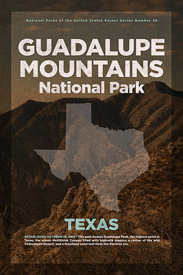 Guadalupe Mountains National Park In Texas Travel Poster Series Of National Parks Number 28 Poster by Design Turnpike