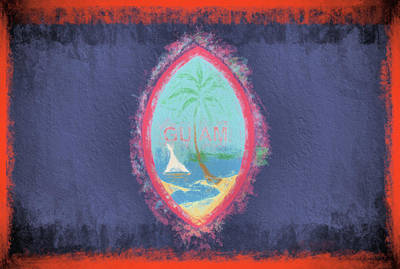 Poster featuring the digital art Guam Flag by JC Findley
