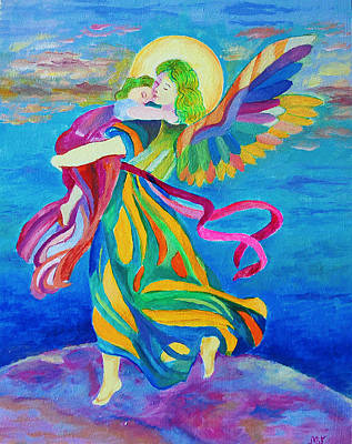 Guardian Angel Holding A Child Poster by Magdalena Walulik
