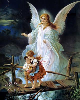 Guardian Angel Watching Over Children On Bridge Poster