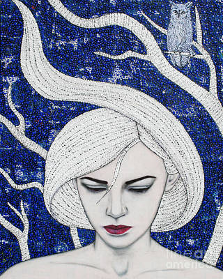 Poster featuring the mixed media Guardian Of The Night by Natalie Briney