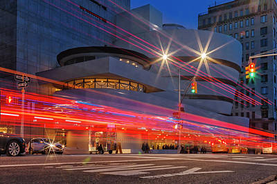 Poster featuring the photograph Guggenheim Museum Nyc Light Streaks by Susan Candelario