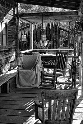 Guilford Mill Porch In Bw Poster by Selena Wagner