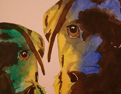 Poster featuring the painting Guiness Green And Bella Blue by Lynn Babineau