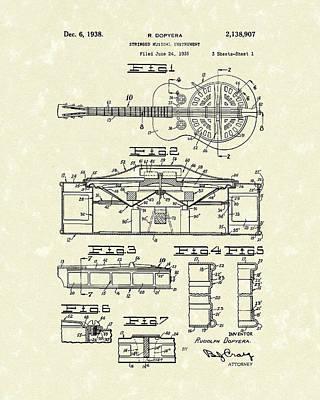 Guitar 1938 Patent Art Poster by Prior Art Design