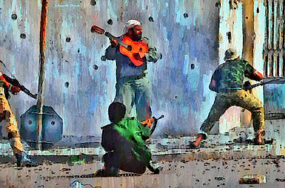 Guitar At Battlefield - Da Poster by Leonardo Digenio