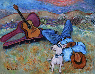 Guitar Doggy And Me In Wine Country Poster