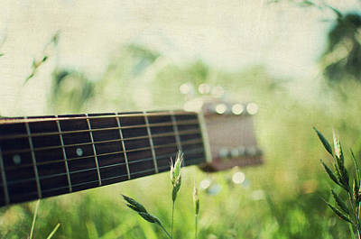 Guitar In Country Meadow Poster by Images by Victoria J Baxter