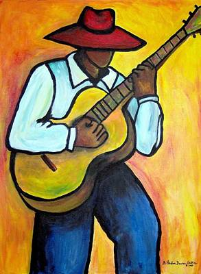 Poster featuring the painting Guitar Man by Diane Britton Dunham