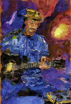 Guitar Man Poster by Shirley Stalter