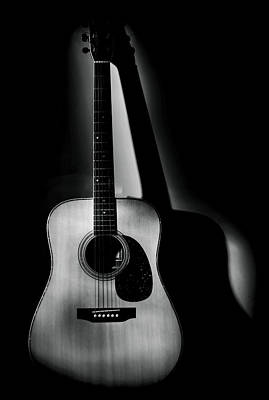 Guitar Shadows Black And White Poster by Terry DeLuco
