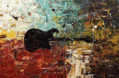 Poster featuring the painting Guitar Story by Carmen Guedez
