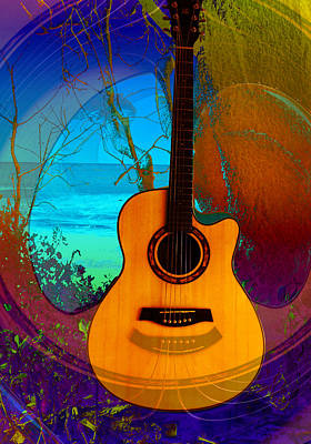 Poster featuring the digital art Guitar Tree by Shadowlea Is