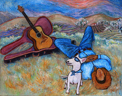Poster featuring the painting Guitar Doggy And Me In Wine Country by Xueling Zou