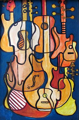 Guitars And Fiddles Poster by Douglas Pike
