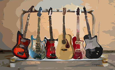 Guitars On A Rack Poster by Arline Wagner