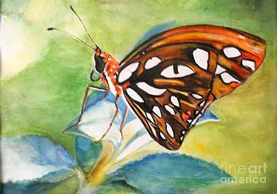 Poster featuring the painting Gulf Fritillary Butterfly by Sibby S