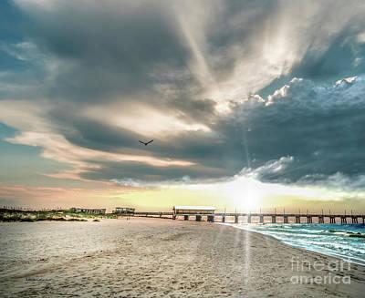 Gulf Shores Al Pier Seascape Sunrise 152c Poster
