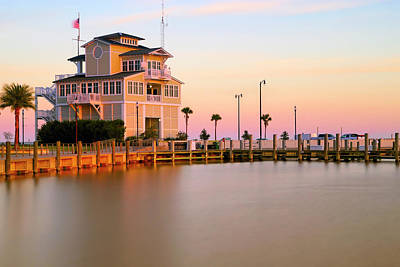 Poster featuring the photograph Gulfport Harbor Master's Office - Mississippi - Sunset by Jason Politte