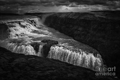 Gullfoss Waterfall Poster by Nancy Dempsey