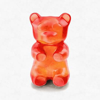 Poster featuring the digital art Gummy Bear Red Orange by Edward Fielding