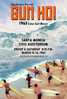 Gun Ho Vintage Surfing Poster Poster by Ron Regalado