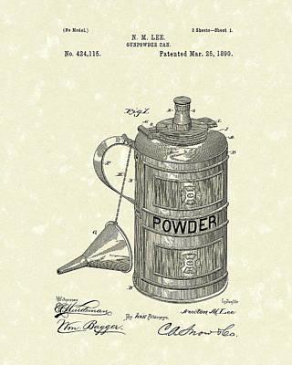 Gunpowder Can 1890 Patent Art  Poster by Prior Art Design