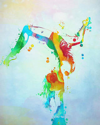 Gymnast Watercolor Paint Splatter Poster by Dan Sproul