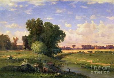 Hackensack Meadows - Sunset Poster by George Snr Inness